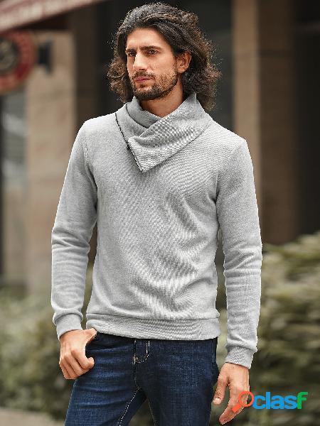 Camisola de manga comprida masculina com gola funil design