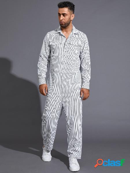 Macacão casual masculino com estampa listrada de manga comprida