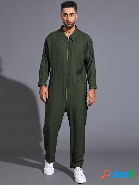 Macacão masculino casual manga comprida com zíper frontal