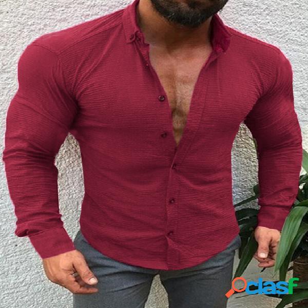 Masculino outono casual com botão frontal liso manga longa camisa