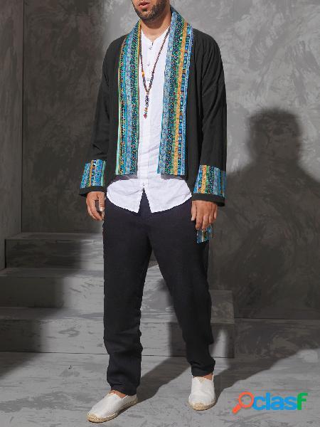 Masculino outono casual retro moda tribal estampa patchwork splice cardigan