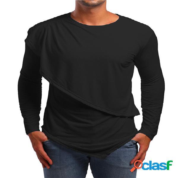 Camiseta masculina outono casual de algodão liso assimétrico com bainha design