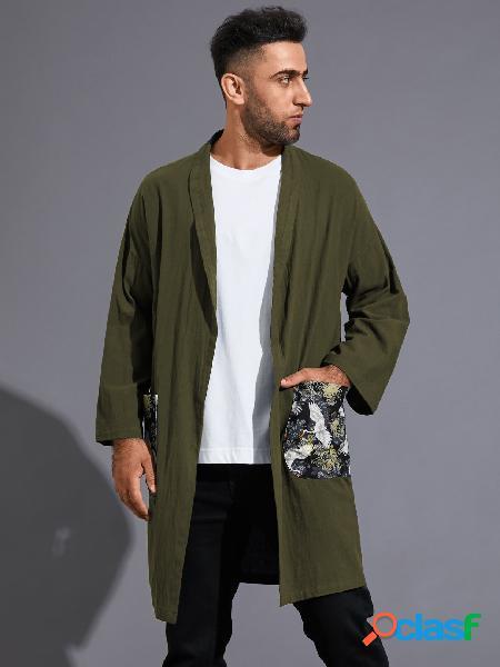 Casaco masculino outono casual com estampa solta e confortável cardigã