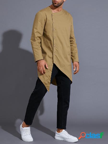 Homens casual com decote em v índia kurta plain midi comprimento assimétrico camisa