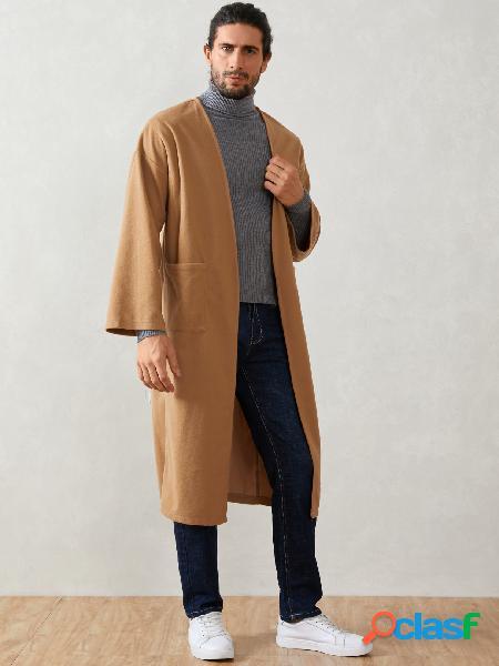 Casaco masculino casual legal casual cor sólida manga comprida frontal aberto cardigã