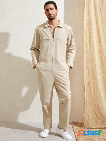 Macacão casual masculino com zíper e manga comprida com vários bolsos