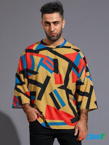 Camiseta masculina casual colorida bloco geométrica 3/4 comprimento manga multicolor