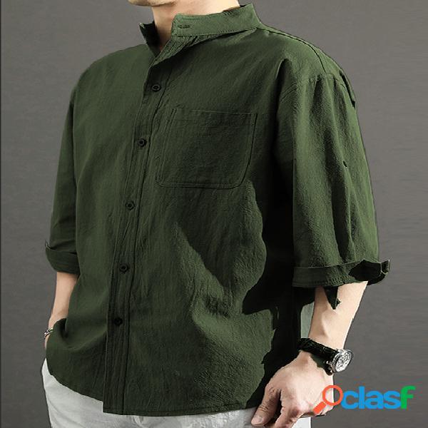 Masculino outono casual colarinho simples bolso simples camisa