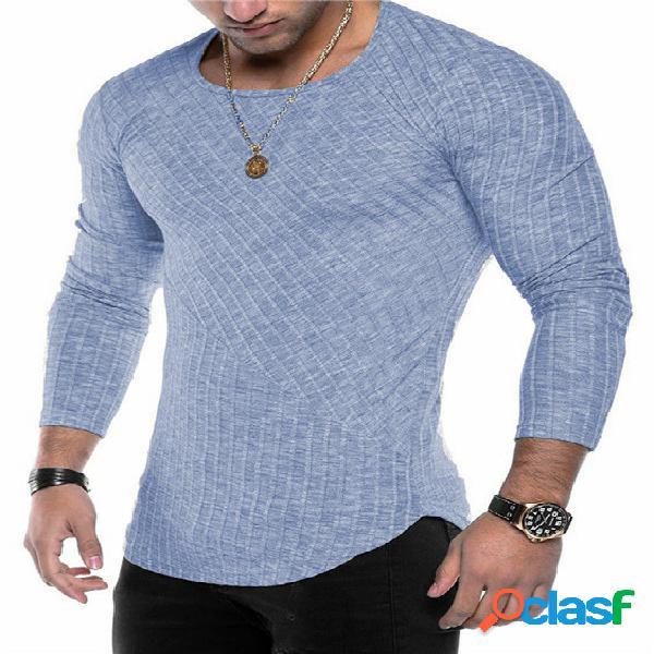 Masculino outono casual soft simples manga longa camiseta