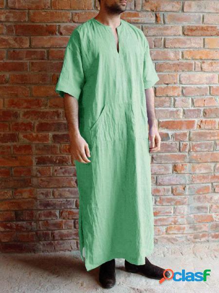 Camiseta masculina casual outono com decote em v simples longa comprimento