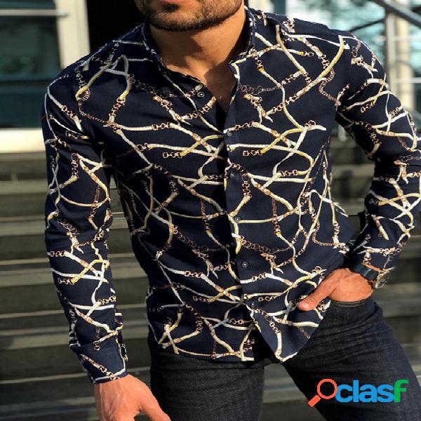 Masculino outono casual estampa all over print manga comprida camisa