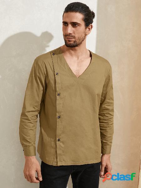 Camiseta casual masculina de outono com decote em v