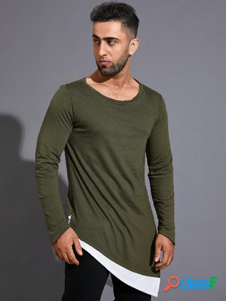 Camiseta masculina casual patchwork cor sólida com bainha irregular
