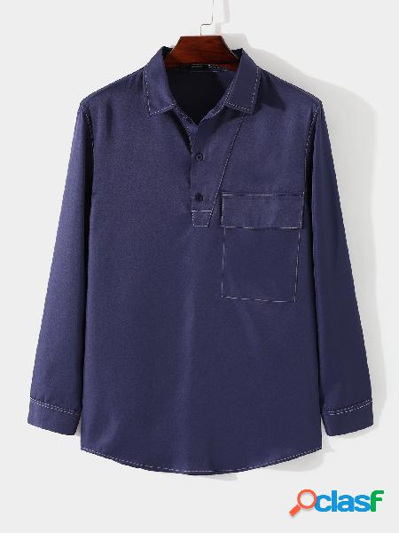 Camisa casual masculina de bolso frontal com botão liso outono