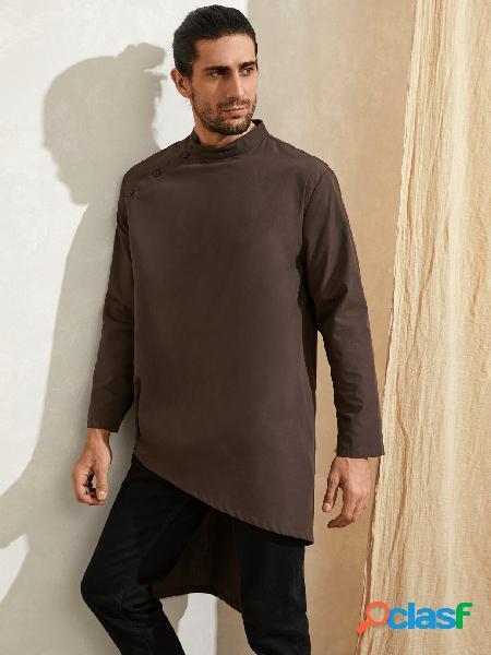 Camisa casual masculina de gola étnica com gola irregular