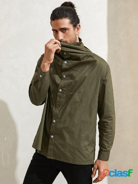 Camisa casual masculina de gola funil simples