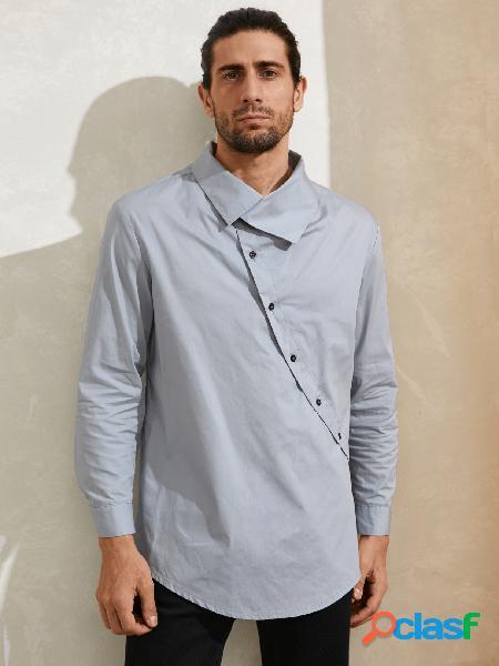 Camisa casual masculina de manga longa cor sólida