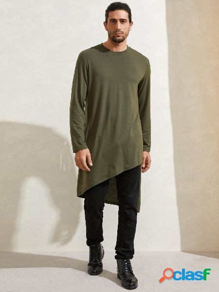 Camiseta masculina casual lisa em midi com design irregular