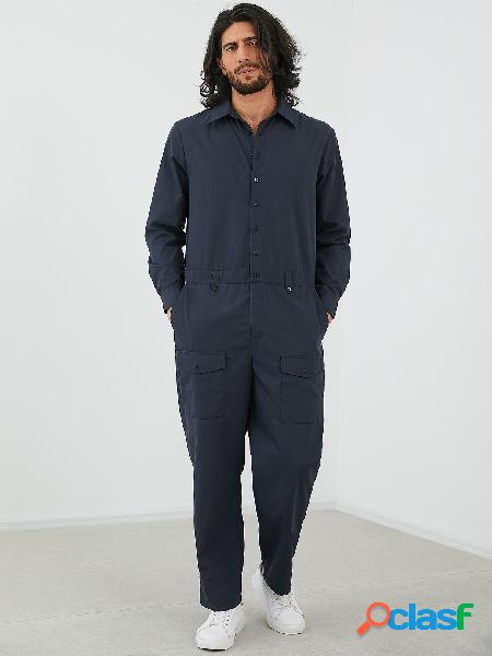Macacão de manga comprida com botão utilitário multi-pocket fashion masculino