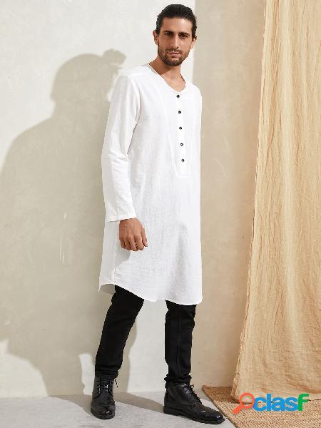 Camisa casual masculina com decote em v de comprimento médio