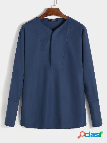 Camiseta masculina casual com decote em v simples e confortável