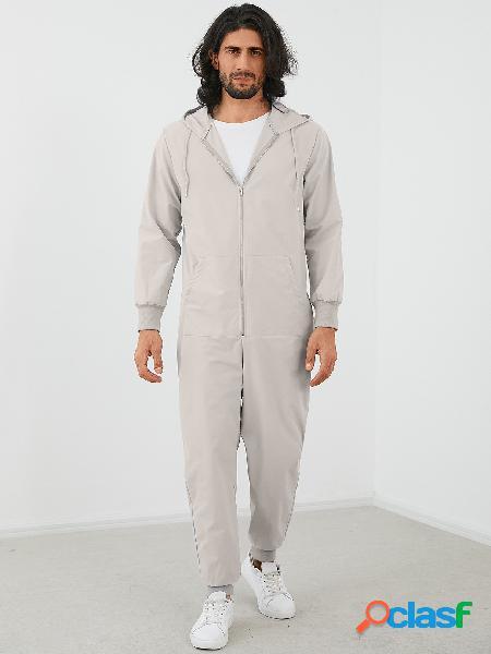 Macacão yoins basics moda masculina com zíper com capuz e manga comprida macacão