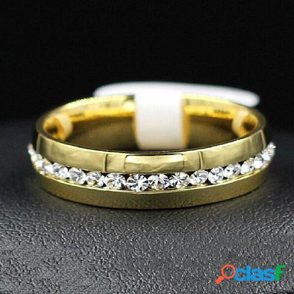 Anéis de dedo da moda de aço inoxidável strass prata ouro anéis de dedo acessórios joias para homens