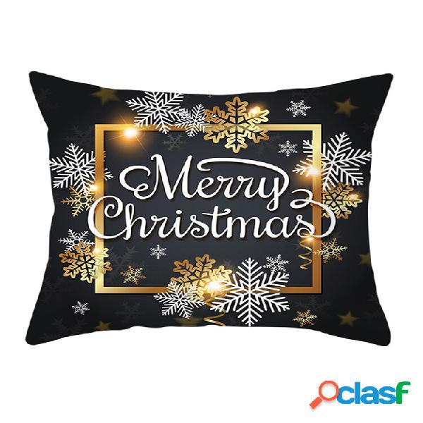 Capa de almofada de microfibra golden black christmas series capa de almofada de inverno soft almofada caso