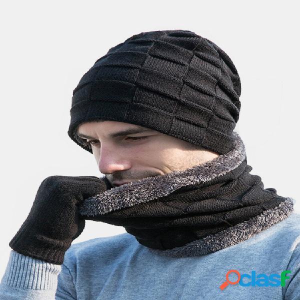 Masculino 2 / 3pcs plus veludo mantenha aquecido inverno proteção pescoço cachecol cachecol luvas de dedo inteiro de mal