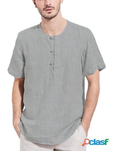 Incerun homens verão estilo chinês botão de linho para cima t-shirt de manga curta