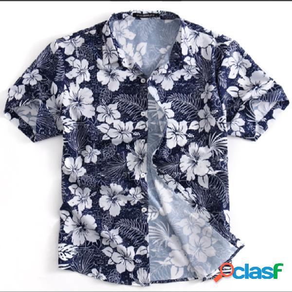 Incerun homens verão férias de lazer camisa top de manga curta estampado tropical