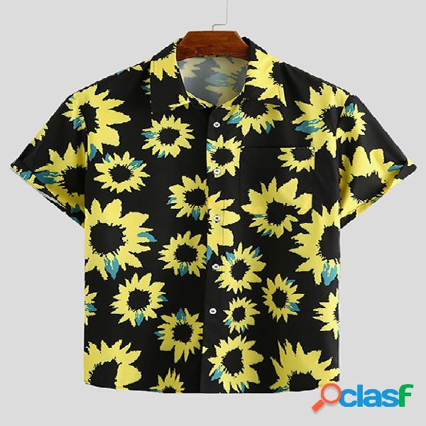 Incerun homens verão havaí praia florais de férias all over print bohemian camisa