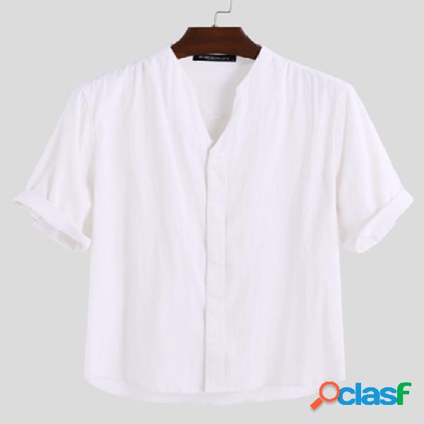 Incerun homens verão vintage algodão e linho botão up com decote em v camisa