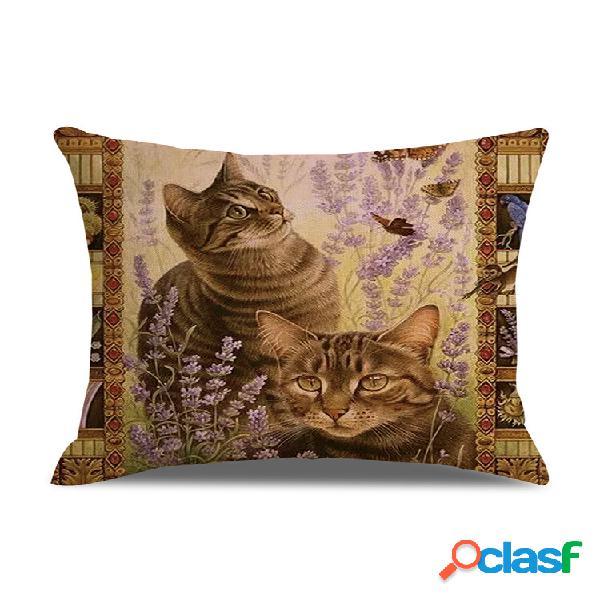 Capa de almofada estilo retro gatos linho algodão capa de almofada de decoração de arte para sofá doméstico