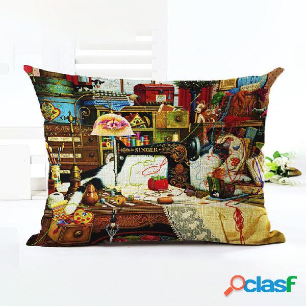 1 pc estilo retro gatos linho algodão capa de almofada sofá casa decoração artística capa de almofada fronha