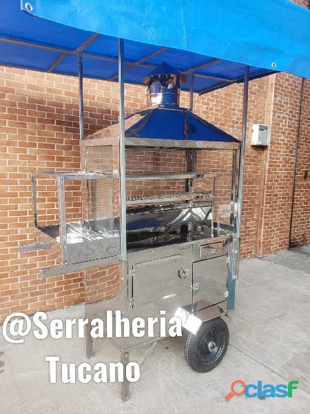 carrinho de churrasco churrasqueira inox