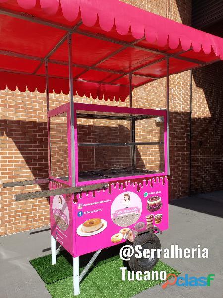 carrinho de doce e bolos dois andares pink loucura