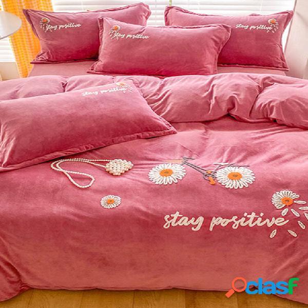 4 peças quentes e plus de veludo grosso bordado floral margarida girassóis de inverno conjuntos de cama confortável capa