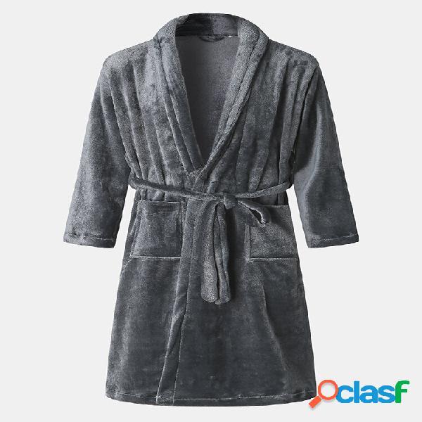 Camisola masculina de flanela casual de inverno grossa roupa de noite robe de cor lisa
