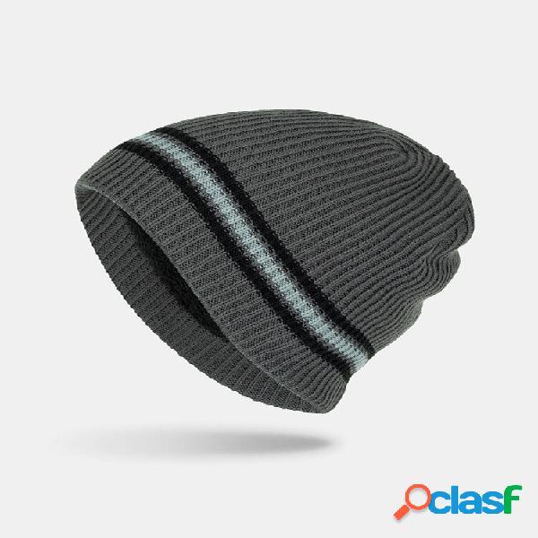 Gorro de calor masculino de acrílico plus de veludo tricotado de duas cores com listras horizontais da moda chapéu