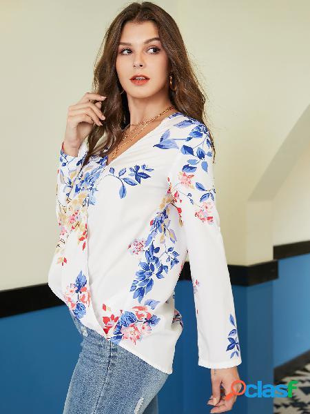 Yoins white wrap design blusa com estampa floral aleatória