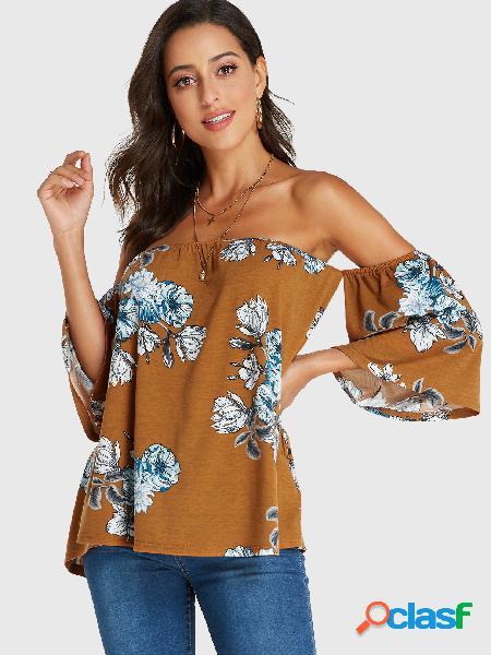 Yoins camiseta de ombro com estampa floral marrom casual