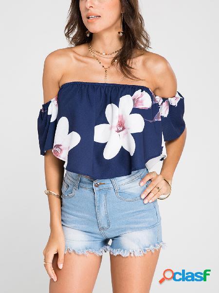 Blusa cortada com estampa floral aleatória off-the-shoulder marinho