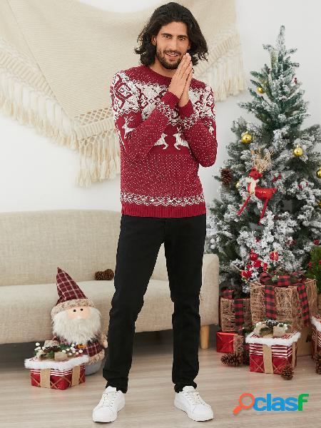 Camisola masculina de tricô quente com floco de neve castanho-claro de manga comprida gola redonda