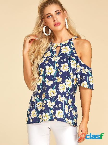 Yoins blusa de mangas curtas com estampa floral aleatória azul