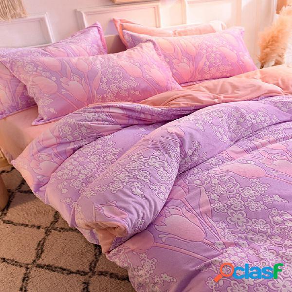 3/4 pcs ab lado 3d bordado floral padrão engrossar leite quente cristal de veludo conjuntos de lençóis de inverno comfy
