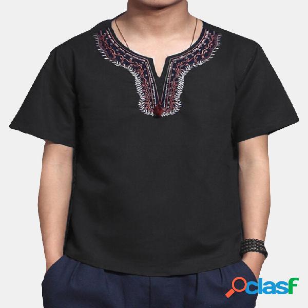 Camiseta masculina de linho de algodão de manga curta retrô casual étnica praia top floral
