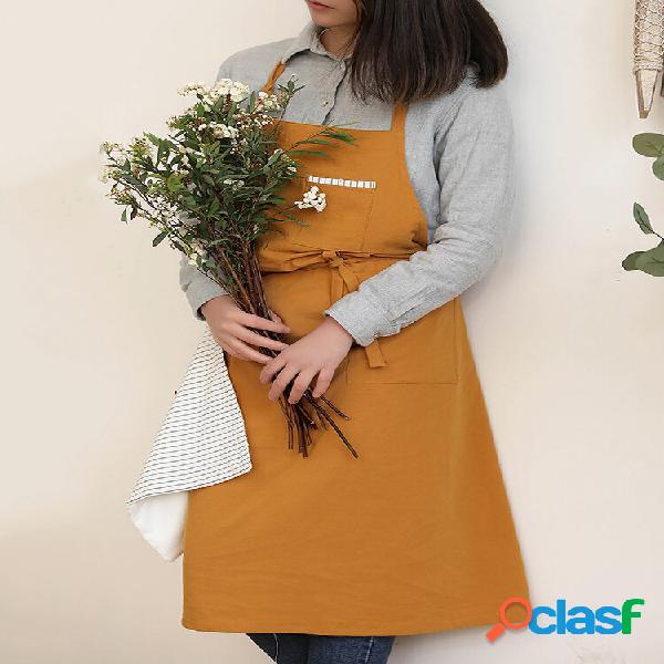 Avental de linho de algodão de cor lisa estilo nórdico para limpar as mãos avental floral de cozinha
