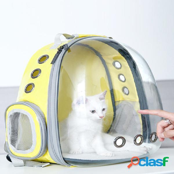 Mochila de viagem para animais de estimação transparente respirável cachorro cat carrier shoulder bolsa