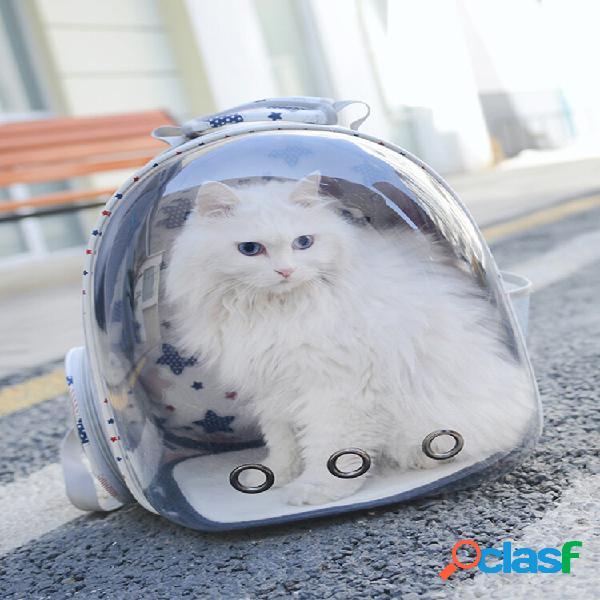 Mochila de viagem para animais de estimação transparente respirável cachorro cat bolsa